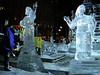 Ice sculpture with sculpter at Copley Sq 2.
