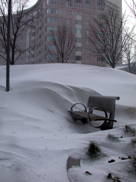 Huge snow drifts in Prudential Center