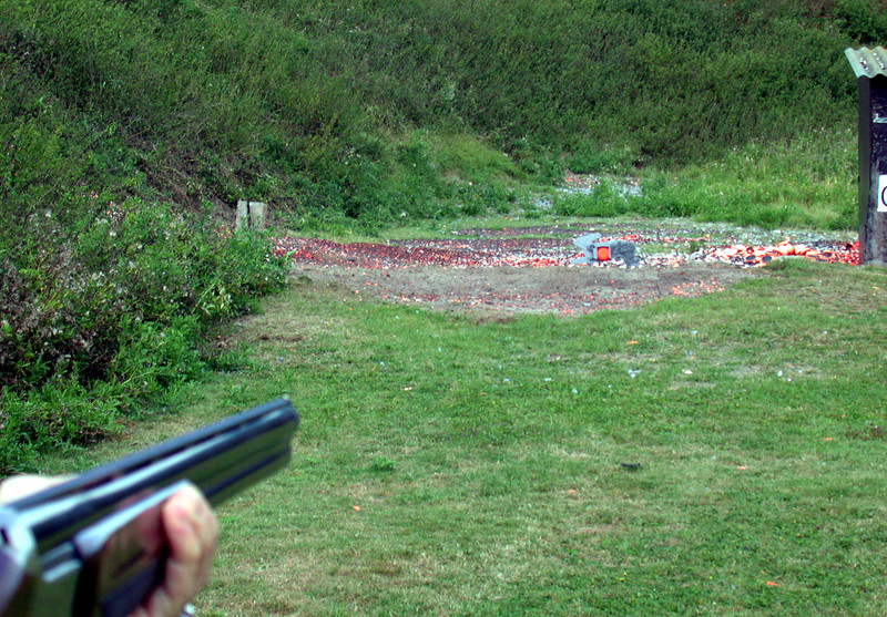 Before the small caliber shooting and bow shooting, we did some clay-pigeon shooting.