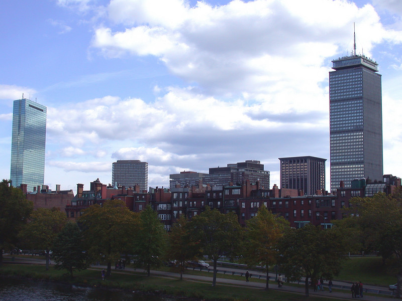 View on Back Bay between Hancock and Prudential Towers.