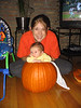 Elissa with Kid in pumpkin