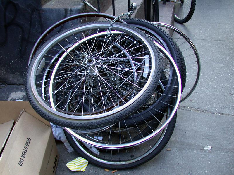 Bicycle wheels.