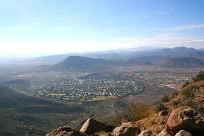 """Looking down upon Graaff Reinet.  The remnants of apartheid society can be see in the divisions of the city itself, the """"black"""" area and the """"colored.""""  People are free to live anywhere now, but families tend to stay near their roots."""