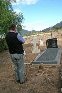 Fr. Peter visits the grave of one of the early members of the South African Province, Fr. James Howley, SCJ