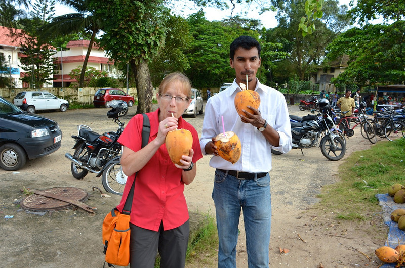 Mary's first afternoon in India was spent with Fr. Michael Benedict (pictured) and Fr. Thomas Vinond, district superior. First stop? A snack of coconut juice near Kochi.