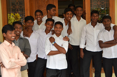 Students ham it up for the camera at Dehon Bhavan in Kumbalanghy
