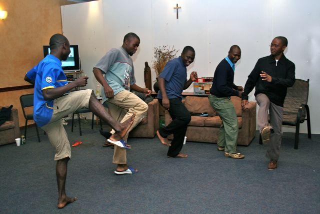 The students who live at the house in Pietermaritzburg come from Congo, Cameroon, Mozambique and South Africa.  Friday night was recreation night -- time to break out the music videos and dance!