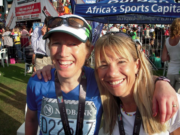 This photo is stolen from Lisa Bliss and Tim Englund.  It's of me and Lisa at the finish of Comrades.  Note that Lisa is already in clean clothes while I still have my number on.  She had a great race!