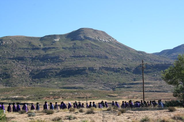 The women of the St. Ann's Society during the Corpus Christi procession at one of the mission locations.