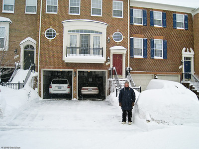 Snomageddon - 6 February 2010 Proud of his handiwork, Mui poses for me just before we go for a walk in the snow.