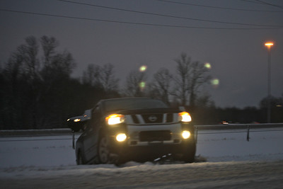 This is what can happen when driving too fast on snow covered roads.
