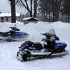 Warming up the sleds before the ride - Krupps resort - the UP of Michigan