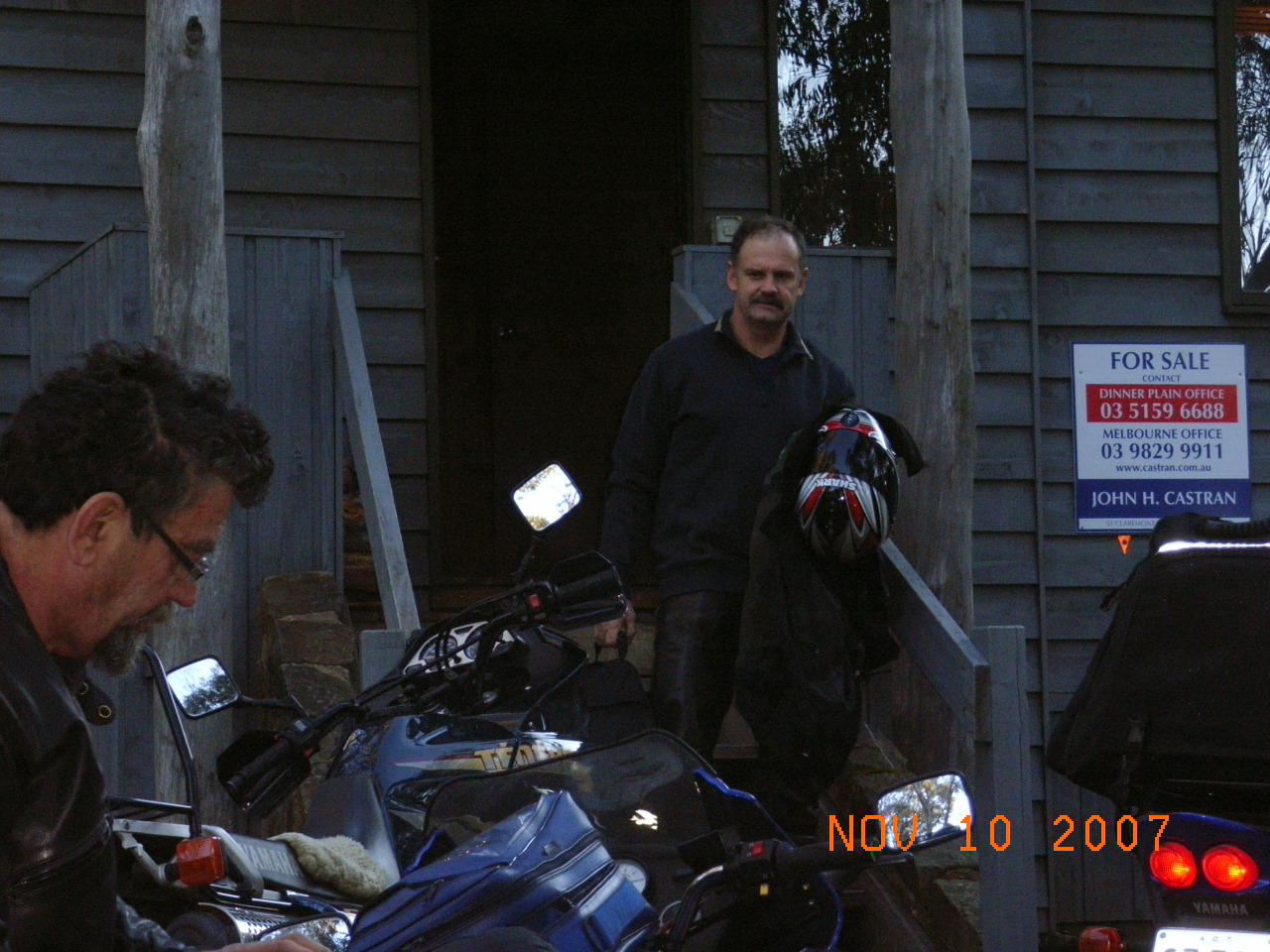 Bleary eyed the next morning Guzzi and Tim load up their bikes.