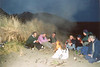 Campfire on the beach at Glen Brittle, Skye.<br /> Gavin, Alex, Julian, Craig, Mel, Scott, Jon and Paul.