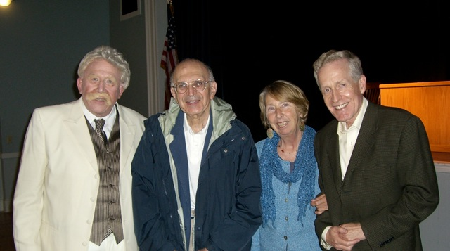 Sol Factor, '69 as Mark Twain, Dr. Morton Gold, Sally Kruger Sulloway, and Paul Driscoll<br /> (June 5, 2010)