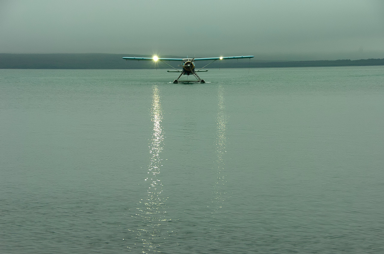 Sea plane transport bring new guests to brooks camp katmai national park in AK