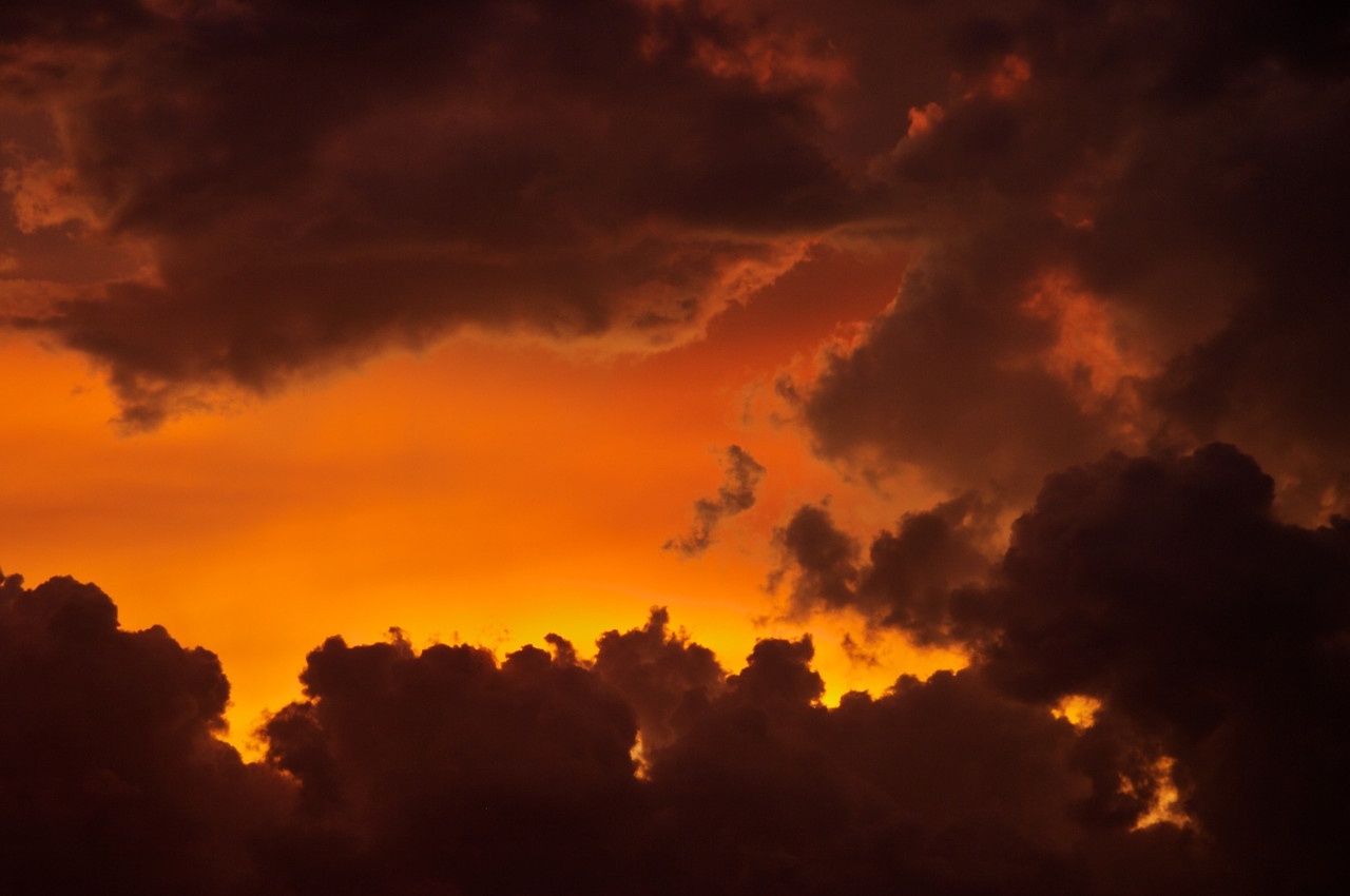 Flaming sunset from Sanibel Island, FL - this is a closeup detail from the sunset.