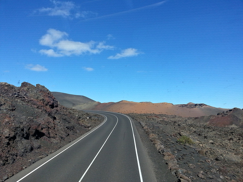 The volcanic road to to the gates of Timanfaya National Park.