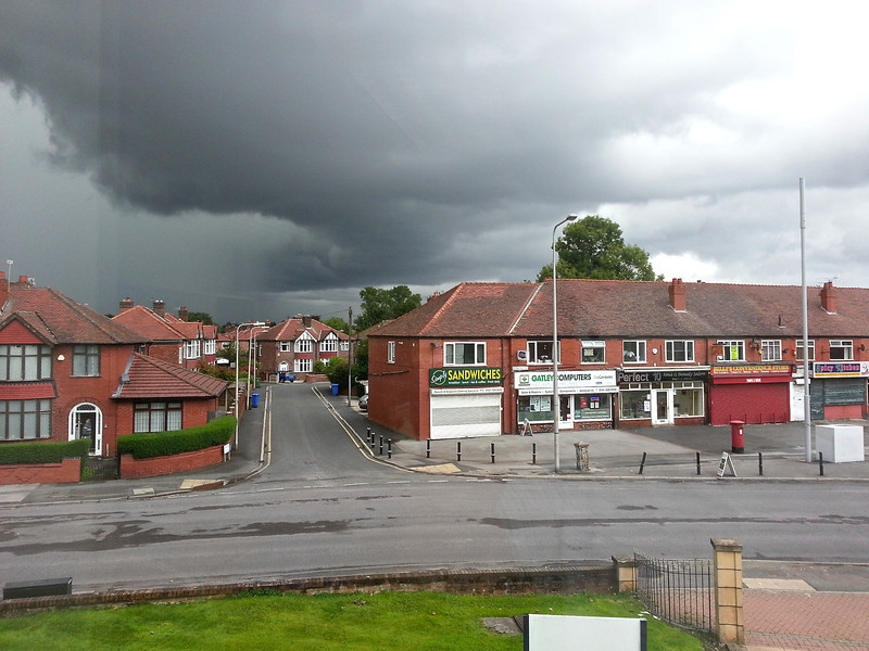 The view from the office on a day of not so nice weather (The massive electrical storm that had hit Manchester that day avoided Gatley and Cheadle by a few miles)