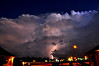 Lighting illuminates a thunderstorm hitting Southeast Shelby County, Tennessee