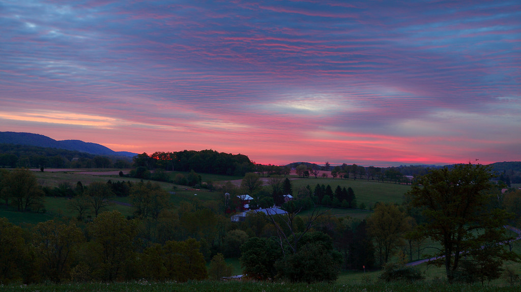 Sunrise on a spring morning, Linden Hall, PA.