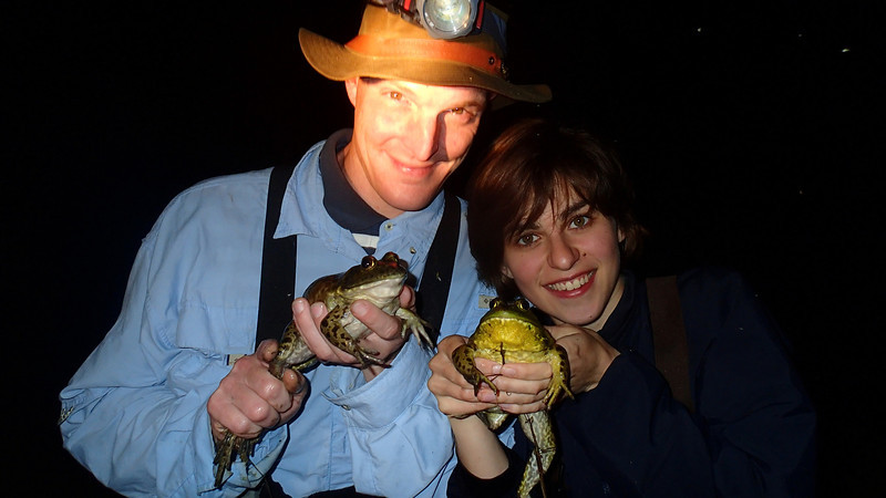 Kurt and Nina with bullfrogs we caught in a small pond along Penn's Creek