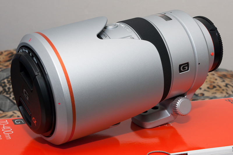 The 70-400 G lens with its hood reversed.