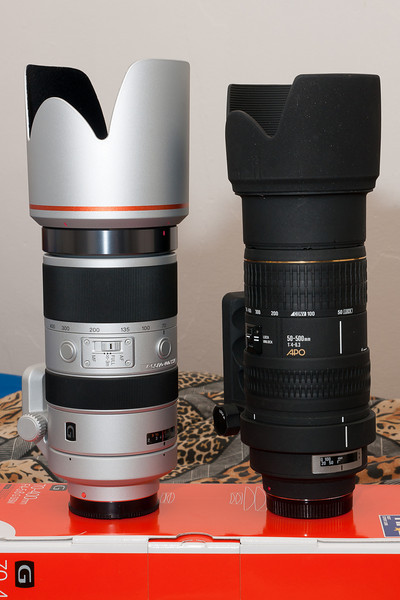 The 70-400 G in comparison to the Sigma 50-500 when both are retracted to their minimum length. The lens body of the 50-500 is about an inch longer than the 70-400, but the 70-400 has a much bigger lens hood.