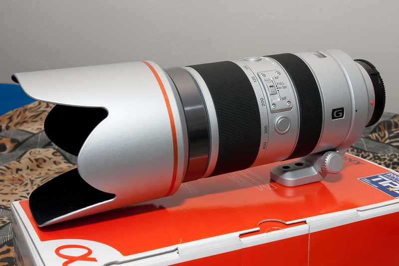 The 70-400 G with its lens hood deployed.