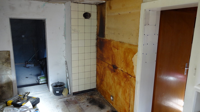 App 2 old wood cooker removed with heat damage to the partition wall