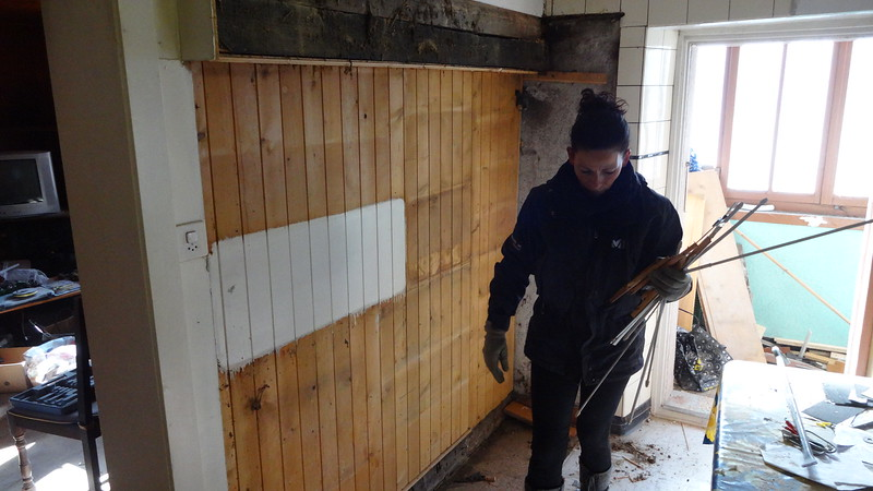App 2: dismantled old kitchen units, with stubs of original many century old beams revealed