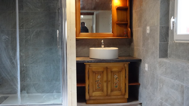 App 2 : hand painted bathroom furniture removed from an apartment in France and installed with new worktop and sink