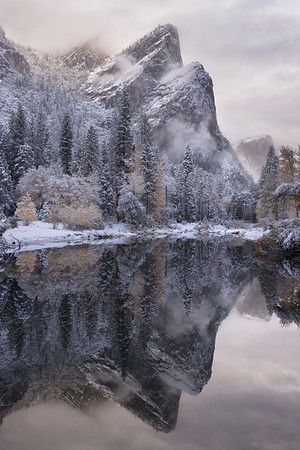 Three Brothers and the Merced River after an autumn snowstorm, Yosemite NP, CA, USA
