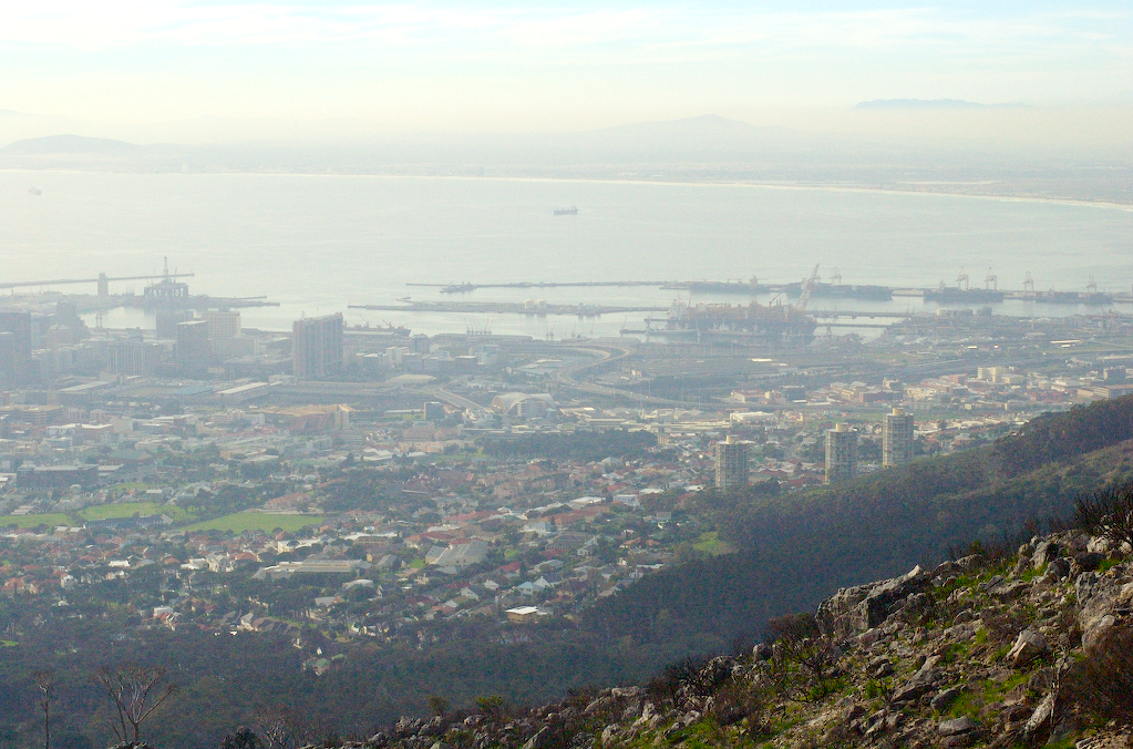 Hazy Cape Town from Table Mountain hike