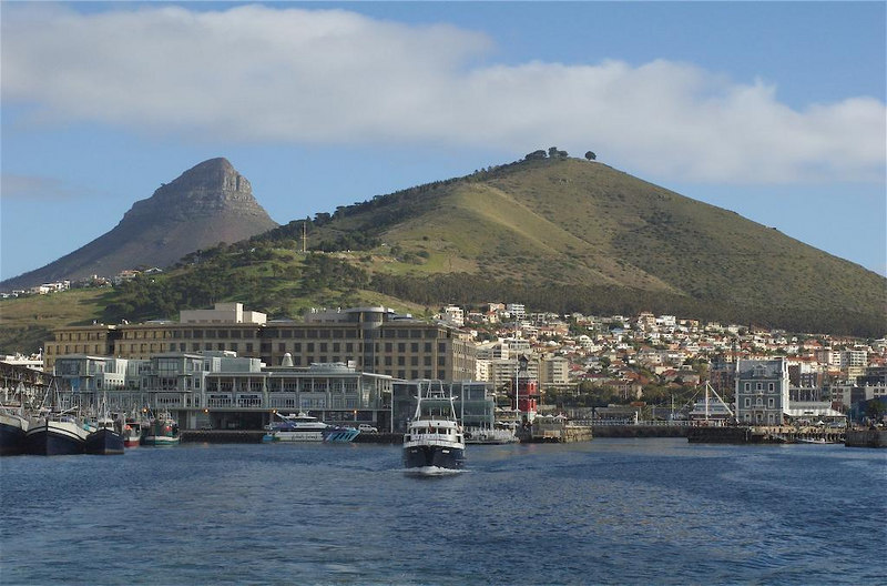 Lion's Head (background) & Signal Hill (foreground), Cape Town. Taken from the ferry headed to Robben Island