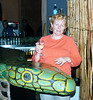 This is the nearest Cora ever wants ti get to a snake - the bar in Mama Africa's Restaurant