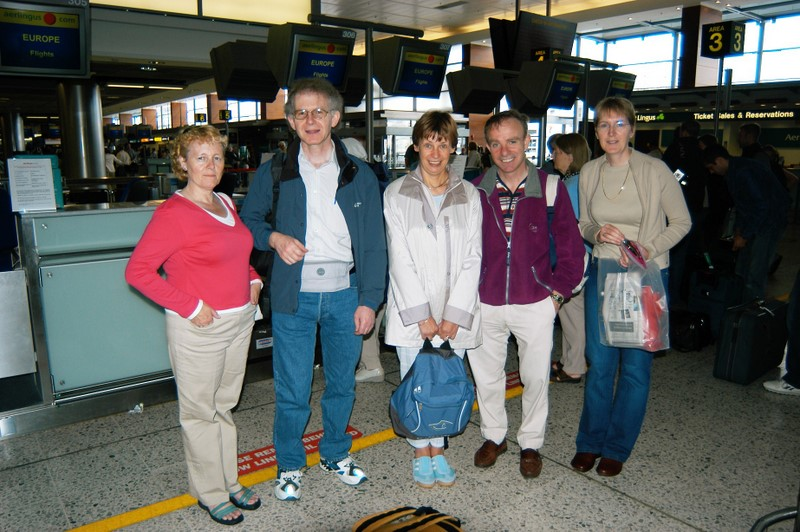 The Gang check in at Dublin - Cora, Paddy, Kay, Adair + Rita