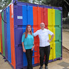 Dan Leader and Gail Johnstone are standing outside the closed doors to the container bakery, which was lovingly painted by the residents.  You can see that a window has been installed in the back of the container to allow natural light to filter in.