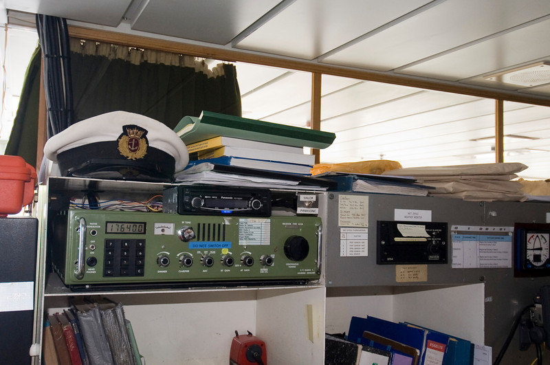 Communications gear on the bridge of the RMS St. Helena.