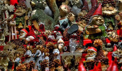 Figurines at Christmas Market, Milan, Italy.