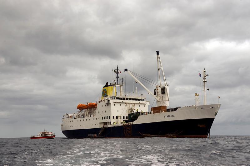 The Royal Mail Ship St. Helena at anchor off St. Helena Island, South Atlantic Ocean.