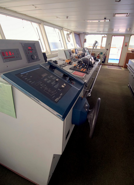 The bridge of the RMS St. Helena.