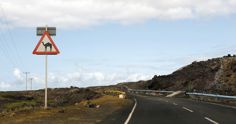 Sign on the road to English Bay, Ascension Island.