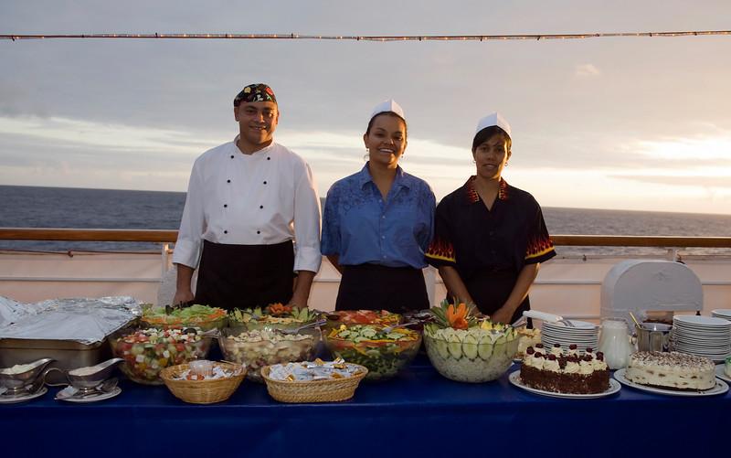 Buffet night aboard the Royal Mail Ship St. Helena, South Atlantic Ocean.
