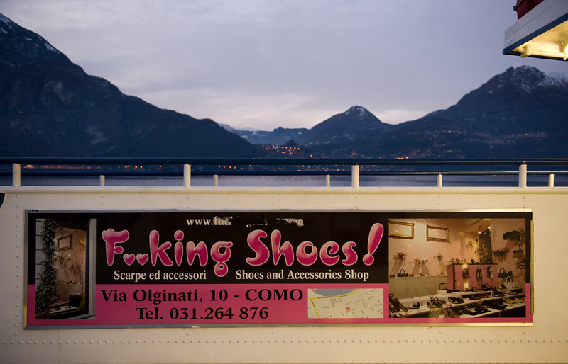 Advertising on a ferry, Lake Como, Italy.