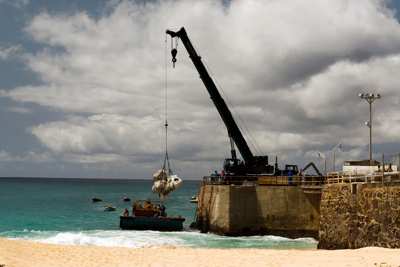 The docks at Georgetown, Ascension Island.