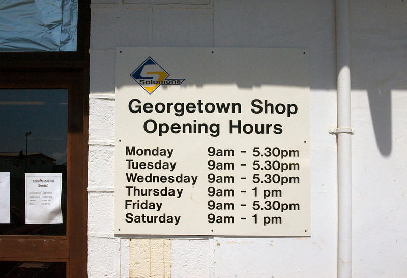 Sign on general store, Georgetown, Ascension Island.