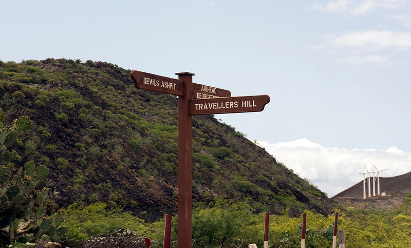 Road sign and windmills, Ascension Island.