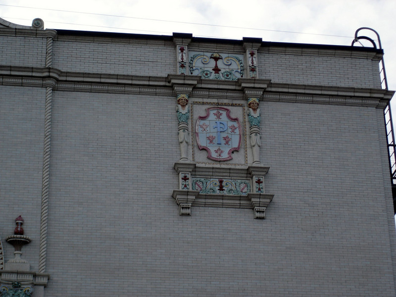 """You can still the original """"P"""" for the Palace in much of the terracotta work on the facade."""