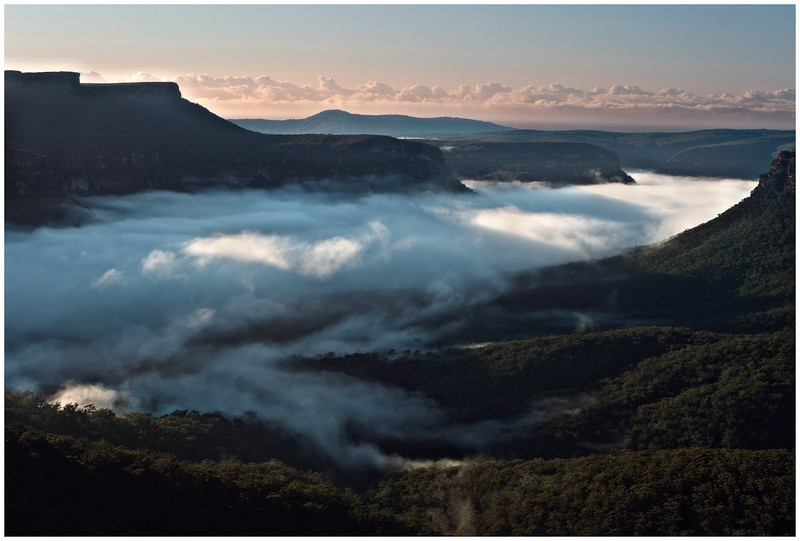 Mist in the valley, near Coyoyo Creek, Budawangs